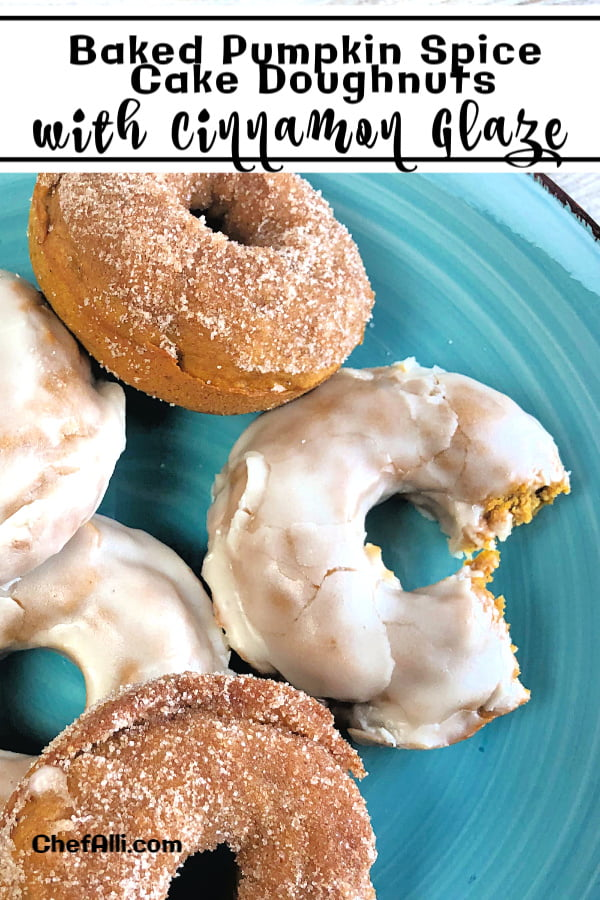 Who loves baked pumpkin cake doughnuts that you can customize? I DO, that's who! My family goes ga-ga over these Baked Pumpkin Spice Cake Doughnuts with Cinnamon Glaze when I make them for breakfast or a lazy Sunday morning. We actually eat these moist, plump, pumpkin treats year round, too! I like how easy it is to make half of them with a cinnamon-sugar topping and half with the cinnamon glaze - what a nice variety to serve up. #donuts #PumpkinSpice #CinnamonGlaze #Cinnamon #Fall #Autumn #BakedDoughnuts #Breakfast #Cake Doughnuts #Brunch #Treats