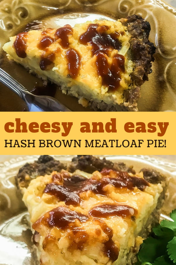 Slices of cheesy hash brown meatloaf pie drizzled with bbq sauce.