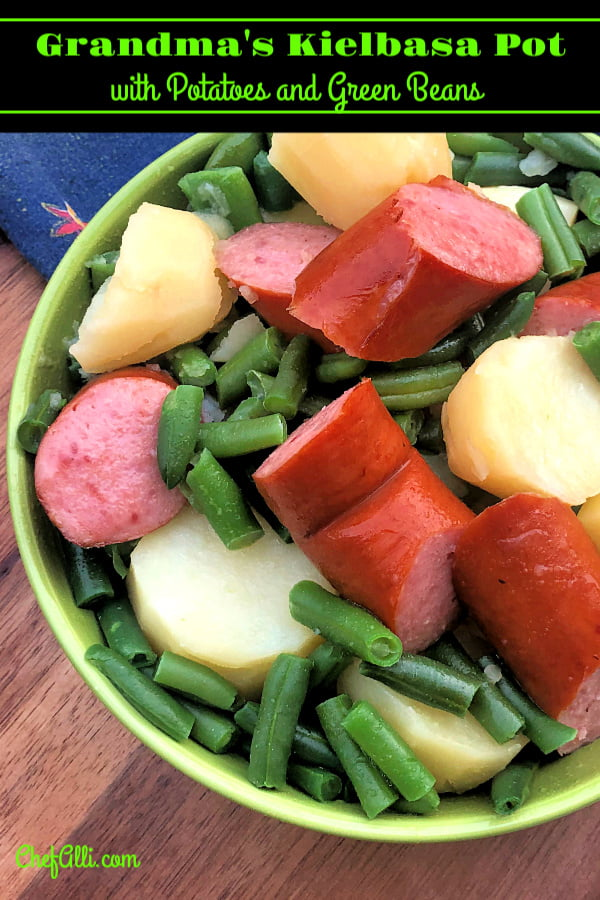 A bowl of Instant Pot Kielbasa Sausage with Potatoes and Green Beans can be ready in minutes.