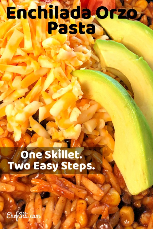 Everybody loves an easy orzo 30-minute meal that features the familiar, festive flavors of Mexican enchiladas, right? We often enjoy a speedy skillet meal like this one that involves just one-pan and only two-steps. #speedymeal #oneskillet #pasta #onepanmeal #enchiladas #orzo