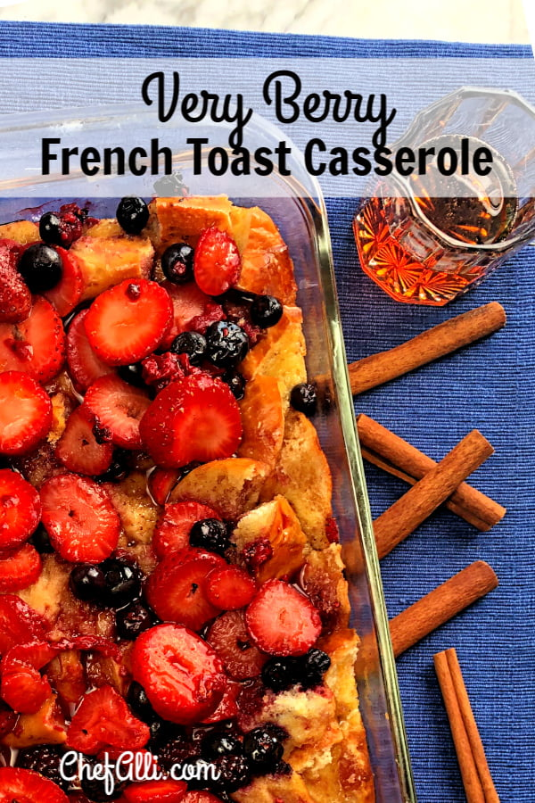 Do you have a special weekend brunch coming up? Here's what you need at the top of the menu: Very Berry French Toast Bake. Just assemble this breakfast casserole the night prior, and when morning arrives, you can bake up the most delicious pan of French Toast Bake you've ever put in your mouth! Piled high with loads of fresh berries and drizzled with warm maple syrup, your guests will delight in this pan of goodness. #FrenchToast #BreakfastCasserole #Berries