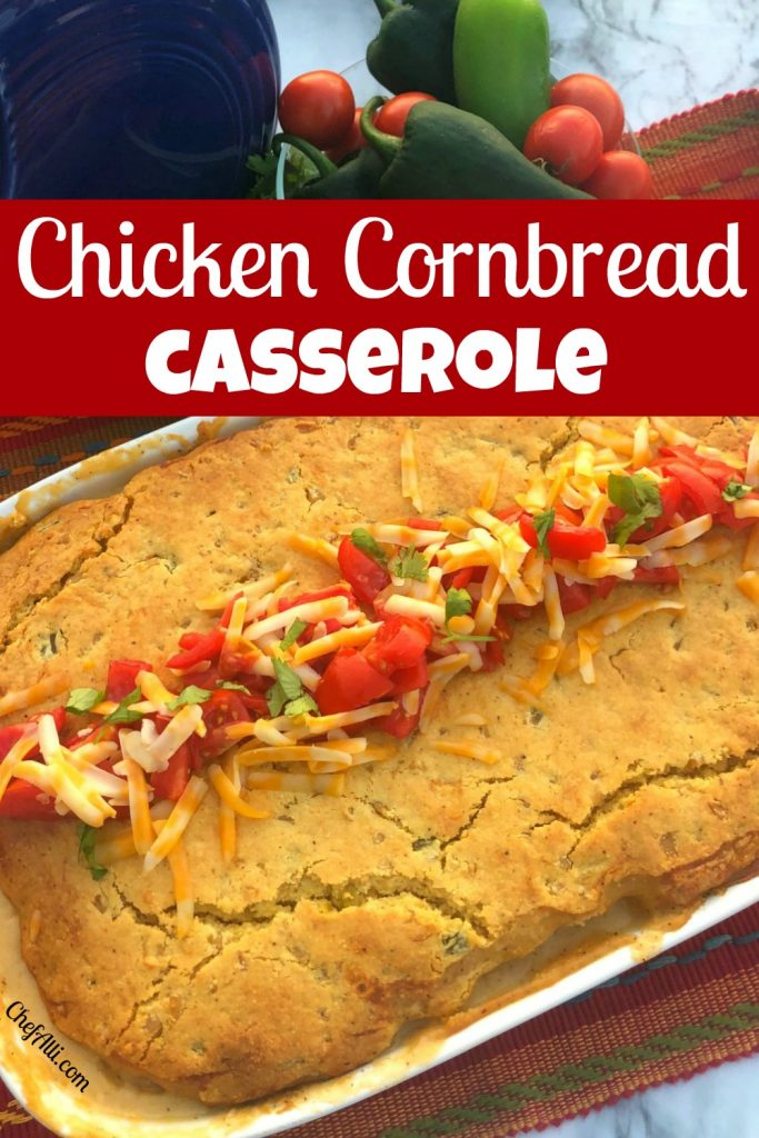 chicken cornbread casserole in 9 x 13 dish with cheese, tomatoes and chilies on top