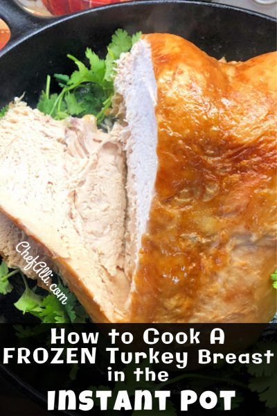 A frozen turkey breast can be cooked from frozen in the Instant Pot saving time and energy.