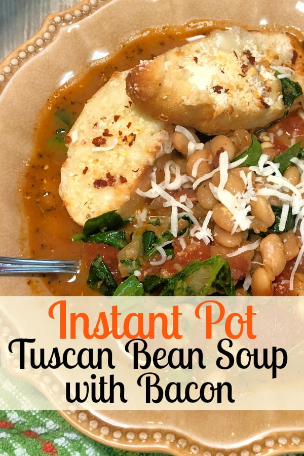 Instant Pot Tuscan Bean Soup with Bacon is a comforting warm meal.