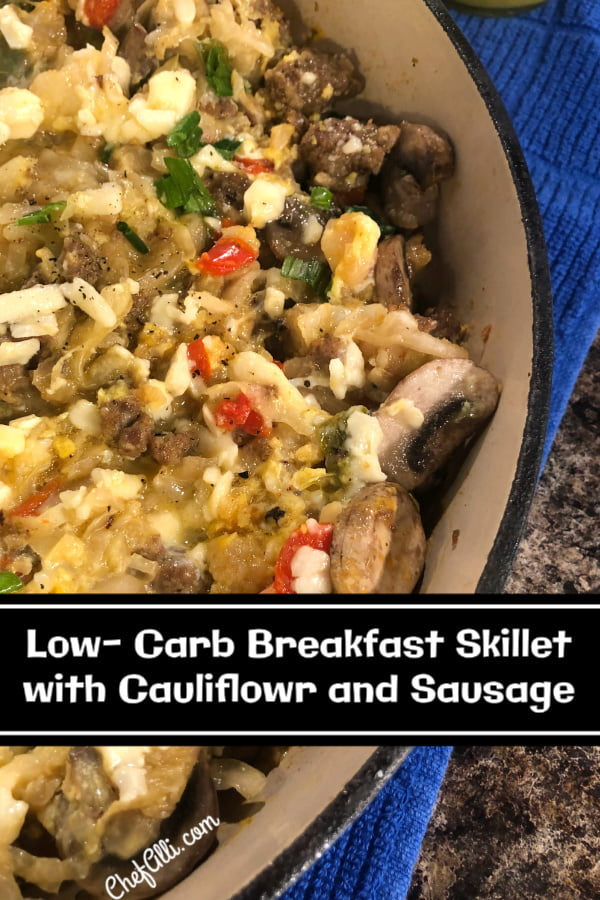 Skillet full of a low-carb cauliflower and sausage breakfast skillet.