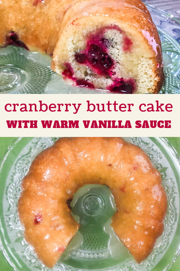 Cranberry Butter Cake made into a bundt pan shape, then sliced.