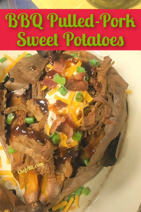 BBQ Pulled Pork Sweet Potatoes are the bomb!