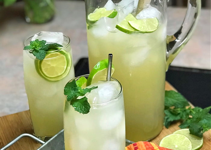 Pitcher Mojitos are so refreshing served over tall glasses of ice.