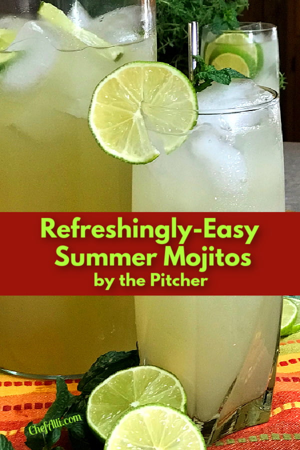 A tall glass full of refreshing summer mojitos with a lime garnish.