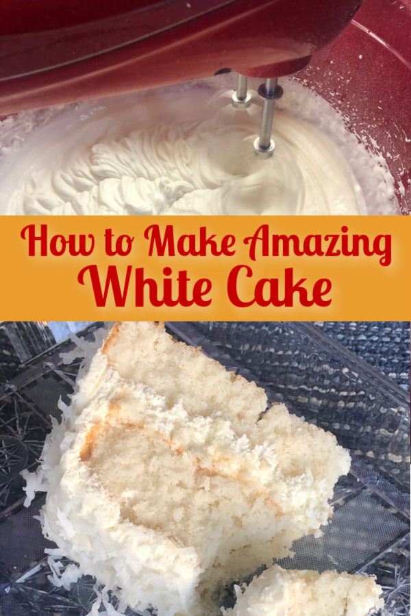 White layer cake with whipped cream frosting, sprinkled with coconut - it's utterly delish!