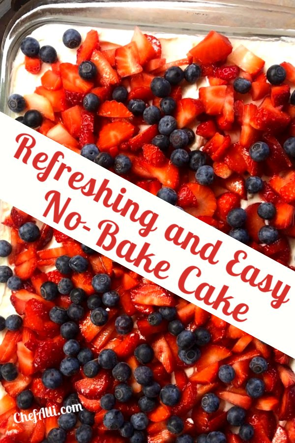 a 9 x 13 no-bake cake with berries is fun and simple to make.