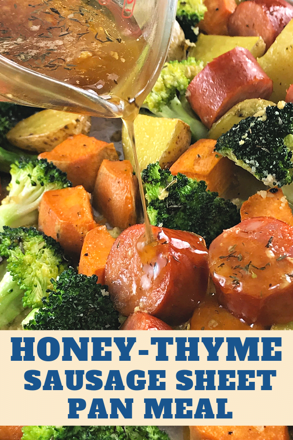 Honey-Thyme Sausage Sheet Pan Meal is quick, easy, and delish.
