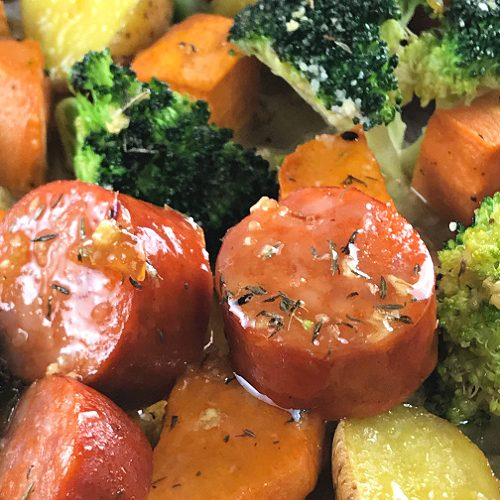 Dinner in a hurry - Sausage and Veggie Sheet Pan Meal.