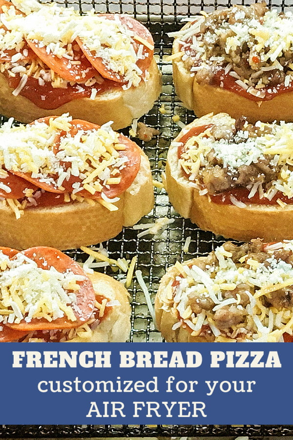 Slices of French bread pizza on an air fryer rack.