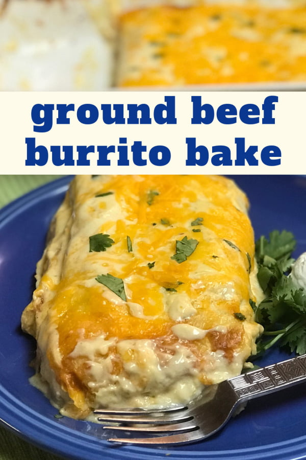 A serving of creamy baked burritos on a blue plate.