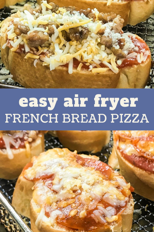 Slices of air fryer French bread pizza, baked and unbaked.