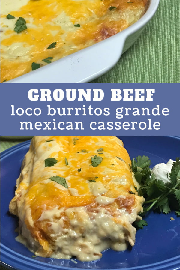 Partial pan of smothered burritos with an individual serving on a plate.