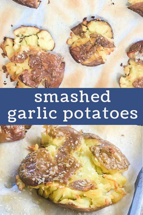 A sheet pan full of Slow-Roasted Smashed Garlic Potatoes.
