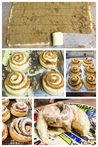 Step-by-step photos for making cinnamon rolls.