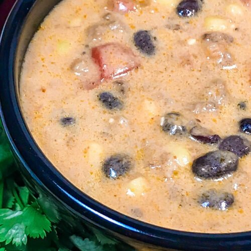 A very full bowl of Creamy Taco Soup.