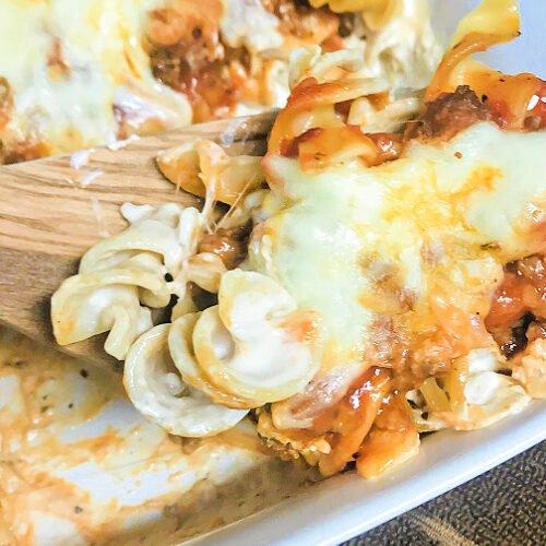 A big spoonful of Lazy Lasagna Noodles.