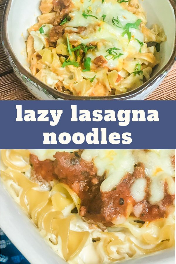 Lazy Lasagna Noodle Casserole served in a bowl.