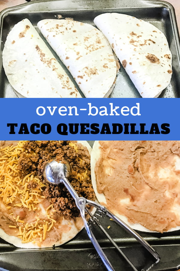 Oven quesadillas on a baking sheet with two on the front to show the assembly.