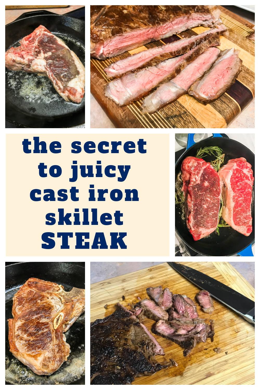 Various photos of cast iron skillet steak.