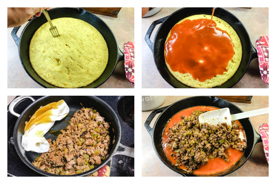 the steps to making Tex Mex Cornbread casserole in a cast iron skillet