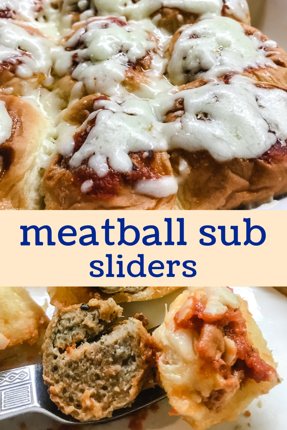 Cheesy meatball sliders in a baking pan.