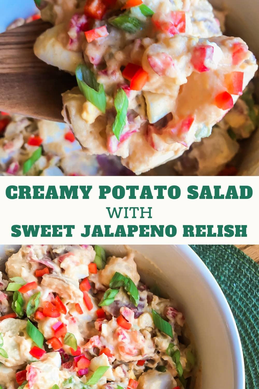 A large bowl of potato salad with jalapeno relish.