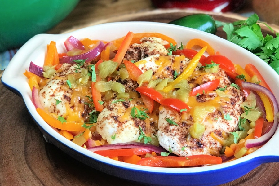 Santa Fe Chicken Breasts topped with colorful bell peppers.